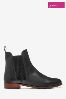 Joules Black Westbourne Leather Chelsea Boots