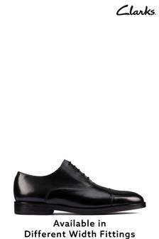 Clarks Black Leather Oliver Cap2 Shoes
