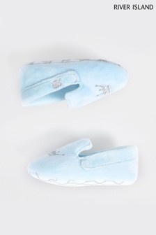 River Island Blue Crown Slip-On Slippers