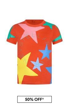 Stella McCartney Kids Girls Red Cotton T-Shirt