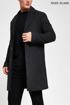 River Island Grey Dark Twill Melange Overcoat