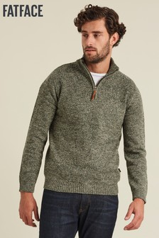 FatFace Green Wilton Half Neck Jumper