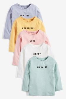 5 Pack Positive Slogan T-Shirts (3mths-7yrs)