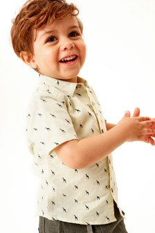 Short Sleeve Linen Mix Shirt (3mths-7yrs)