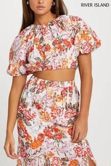 River Island Orange Puff Tie Back Crop T-Shirt