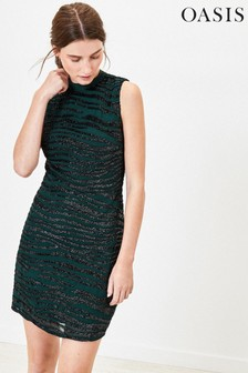 Oasis Green Sequin Tiger Shift Dress
