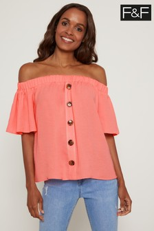 F&F Coral Button Through Bardot Top