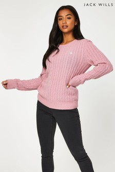 Jack Wills Pink Tinsbury Cable Crew Neck Jumper