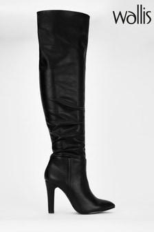 Wallis Black Flat Heel High Leg Boots