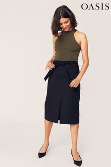 Oasis Black Front Split Pencil Skirt