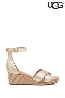 UGG Gold Metallic Eugenia Wedge Sandals