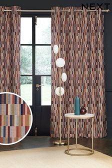 Rust Orange/Navy Blue Jacquard Blocks Eyelet Lined Curtains