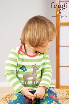 Frugi GOTS Organic Long Sleeve Stripe Top With Deer Appliqué