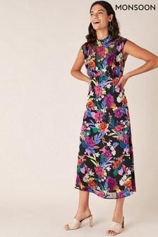 Monsoon Black Bonnie Floral Burnout Print Dress