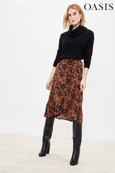 Oasis Natural Leopard Heart Midi Skirt
