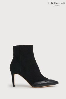 L.K.Bennett Black Angelica Pointed Brogue Ankle Boots