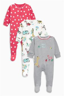 Jungle Animal Sleepsuits Three Pack (0mths-2yrs)