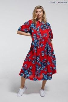 Tommy Hilfiger Red Curve Floral Long Dress