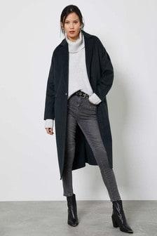 Mint Velvet Dark Green Wool Blend Coat