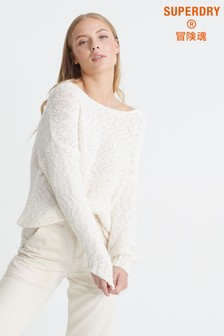 Superdry Ecru V-Neck Slouch Knit Jumper