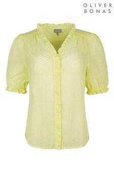 Oliver Bonas Yellow Frill Button Through Top