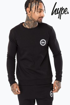 Hype. Black Crest Crew Neck Jumper