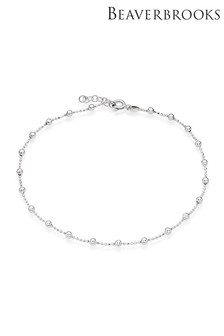 Beaverbrooks Sterling Silver Ball Anklet
