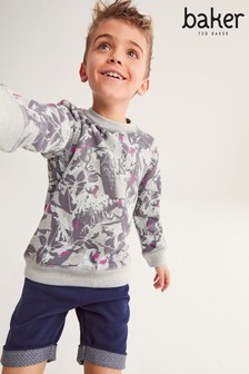 Baker by Ted Baker Boys Camo Print Grey Sweater