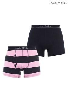 Jack Wills Pink Navy Stripe 2 Pack Boxers