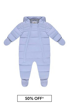 Baby Boys Pale Blue Polar Lined Snowsuit