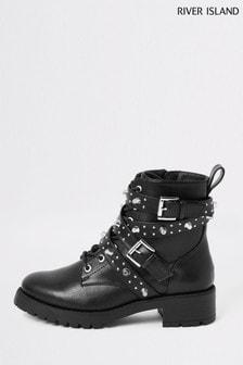 River Island Black Embellished Buckle Boots