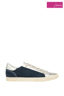 Joules Blue Tildy Leather Cupsole Trainers