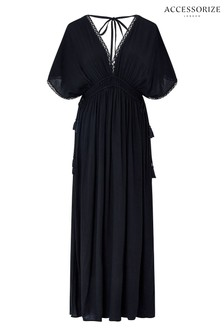 Accessorize Black Double Channel Maxi Dress
