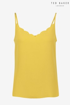 Ted Baker Yellow Siina Scallop Neckline Cami Top