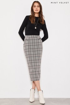 Mint Velvet Check Buttoned Pencil Skirt