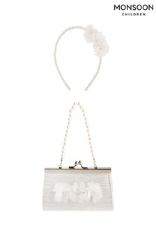 Monsoon Pearl And Lace Mini Bag And Headband Set