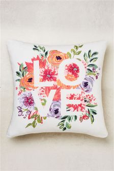 Floral Embroidered Love Cushion