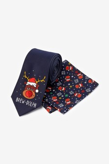 Christmas Novelty Tie And Pocket Square Set