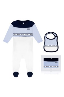 Boys Blue/White Babygrow Gift Set
