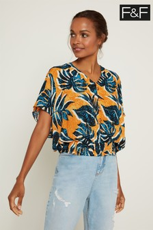 F&F Yellow Leaf Bubble Hem Top