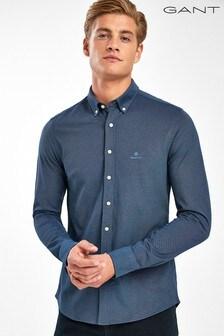 GANT Blue Tech Prep Solid Slim Shirt