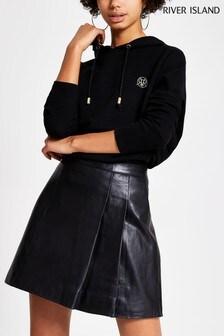 River Island Black Leather Kilt