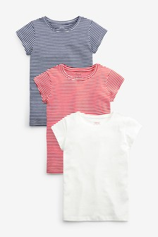3 Pack Striped Short Sleeve T-Shirts (3-16yrs)