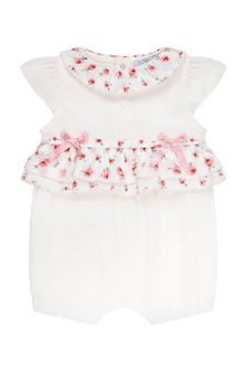 Patachou Baby Girls White Cotton Romper
