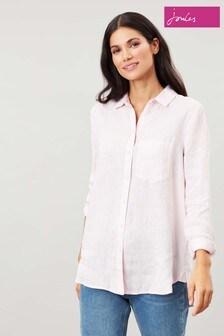 Joules Pink Lorena Linen Longline Woven Shirt
