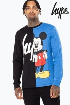 Hype. Black Disney™ Mickey Mouse™ Script Splice T-Shirt