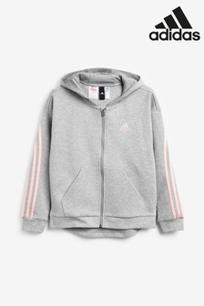 adidas 3 Stripe Zip Through Hoody