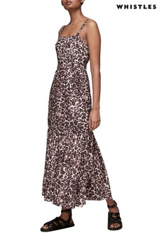 Whistles Leopard Print Tiered Midi Dress