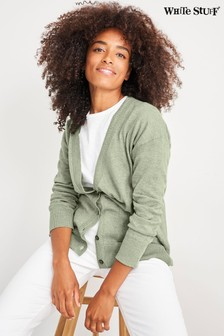 White Stuff Green Acorn V-Neck Cardigan
