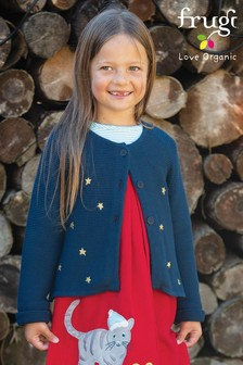 Frugi Organic Knitted Cardigan With Embroidered Gold Stars